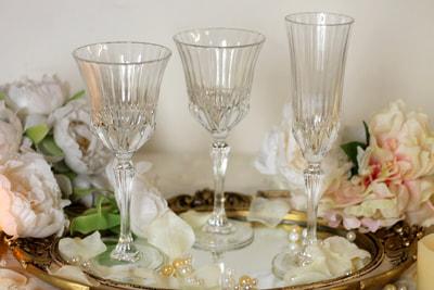 alquiler vajilla antigua vintage copas cristal
